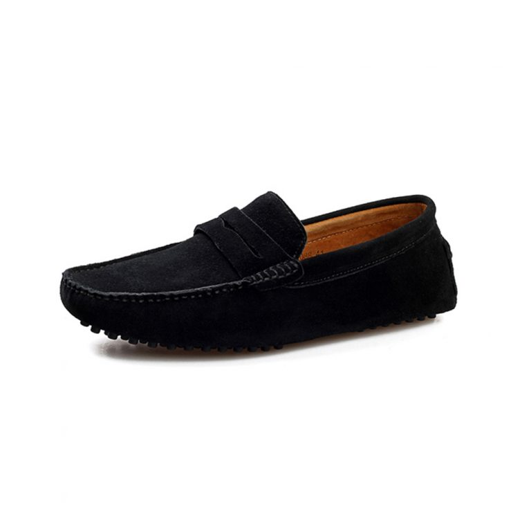 mens black penny loafers – suede soho penny loafers by london loafers