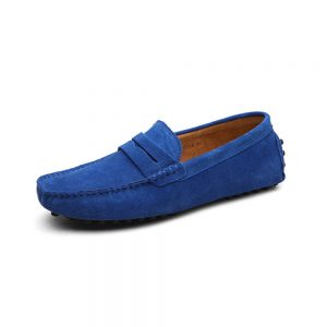 mens blue penny loafers - suede soho penny loafers by london loafers