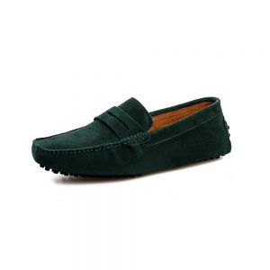 mens green penny loafers - suede soho penny loafers by london loafers
