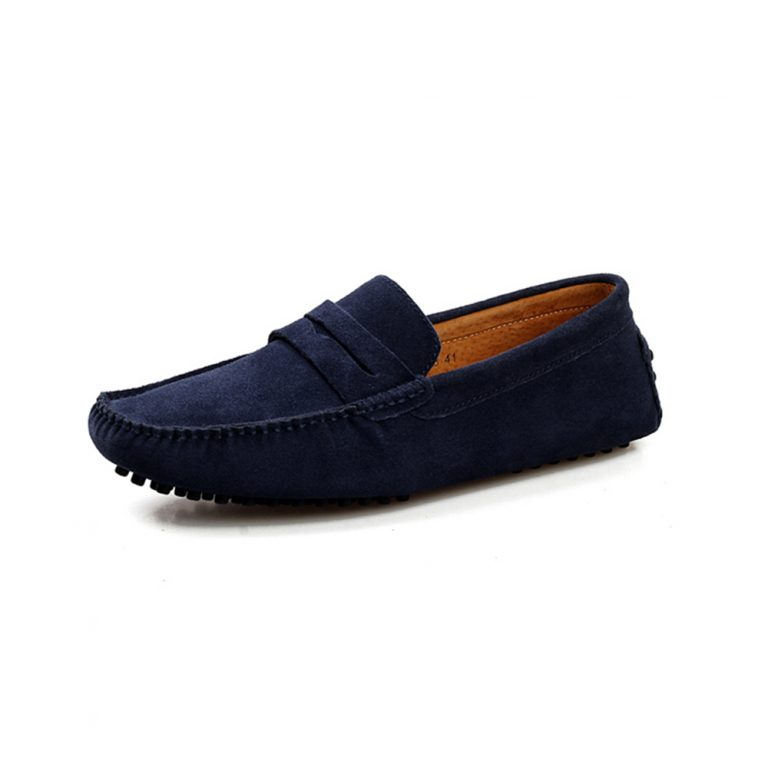 mens navy penny loafers – suede soho penny loafers by london loafers 1
