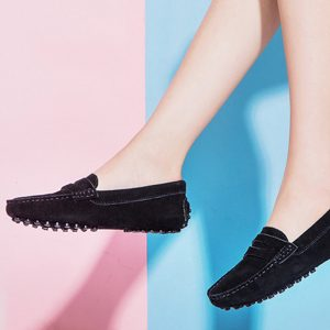womens black suede penny loafers – soho loafers by london loafers