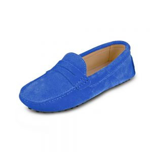 womens blue suede penny loafers - soho loafers by london loafers