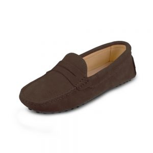 womens brown suede penny loafer - soho shoe by london loafers