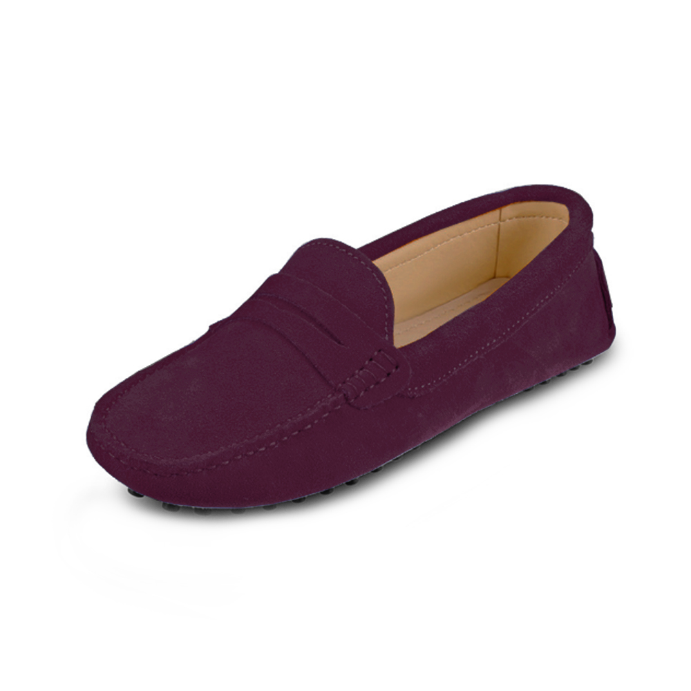 6a458398b08 Womens Burgundy Suede Penny Loafers - Soho Penny Loafers By London ...