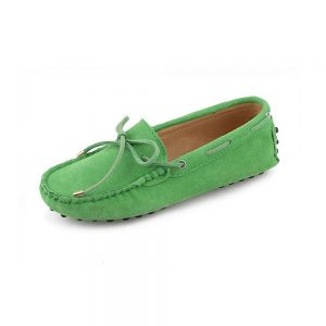 womens green suede lace up driving shoes - kensington shoe by london loafers