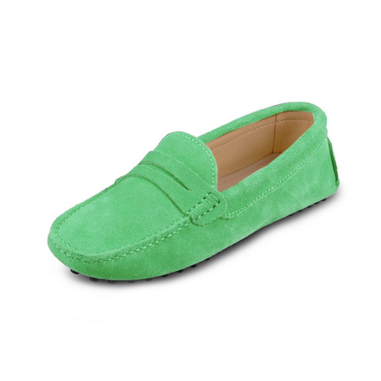 womens green suede penny loafer – soho shoe by london loafers