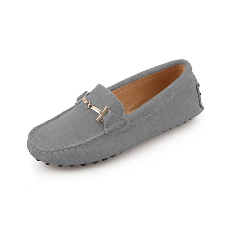 womens grey suede horsbit driving shoes – windsor shoe by london loafers