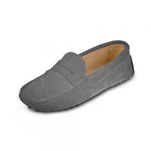 womens grey suede penny loafers – soho loafers by london loafers