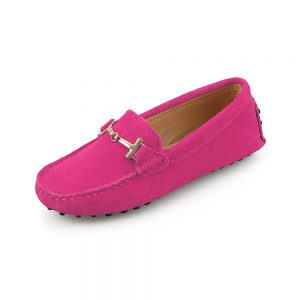 womens hot pink suede horsbit driving shoes - windsor shoe by london loafers