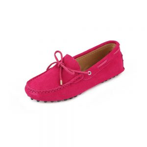 womens hot pink suede lace up driving shoes - kensington shoe by london loafers