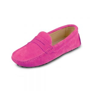 womens hot pink suede penny loafer - soho shoe by london loafers