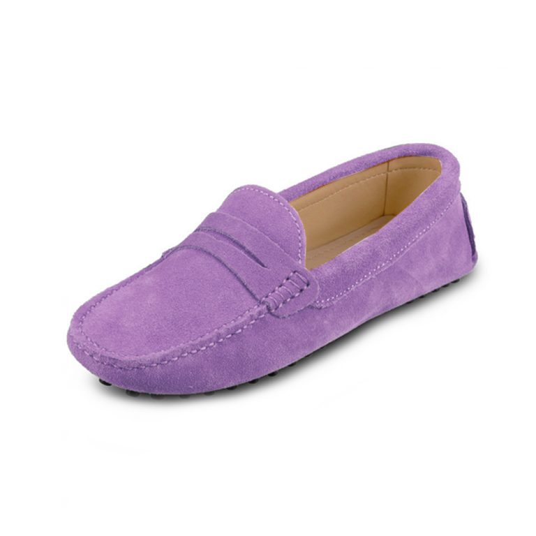 womens lilac suede penny loafer – soho shoe by london loafers