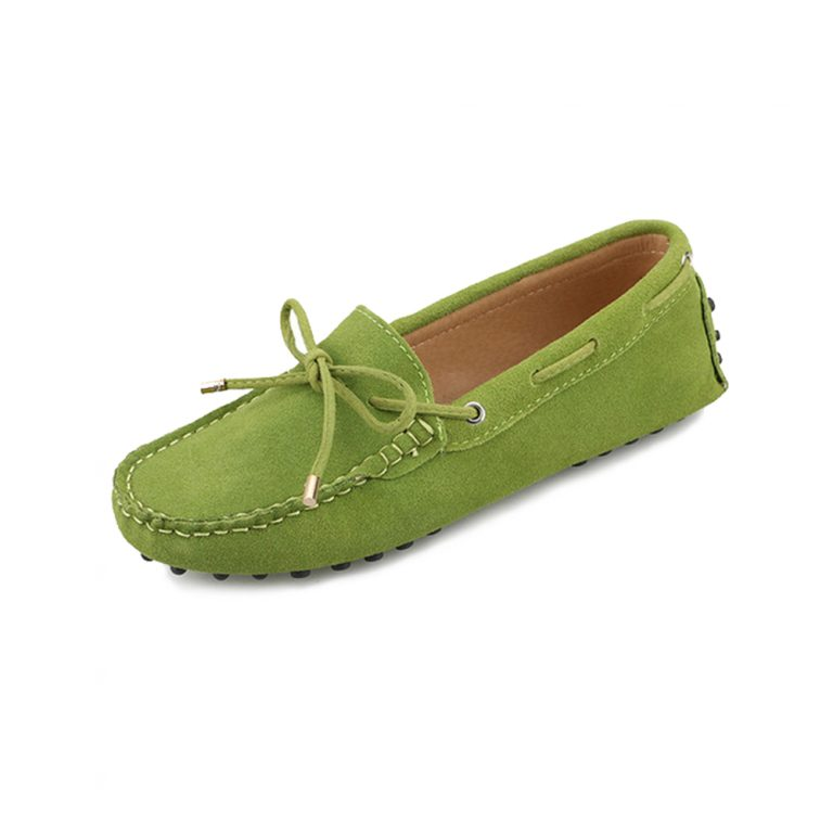 womens lime suede lace up driving shoes – kensington shoe by london loafers