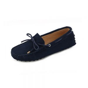 womens navy suede lace up driving shoes - kensington shoe by london loafers