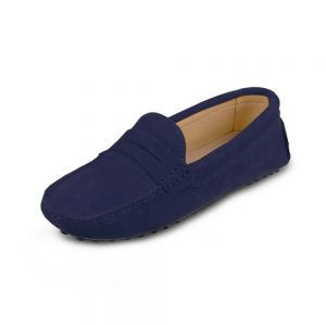 womens navy suede penny loafer - soho shoe by london loafers