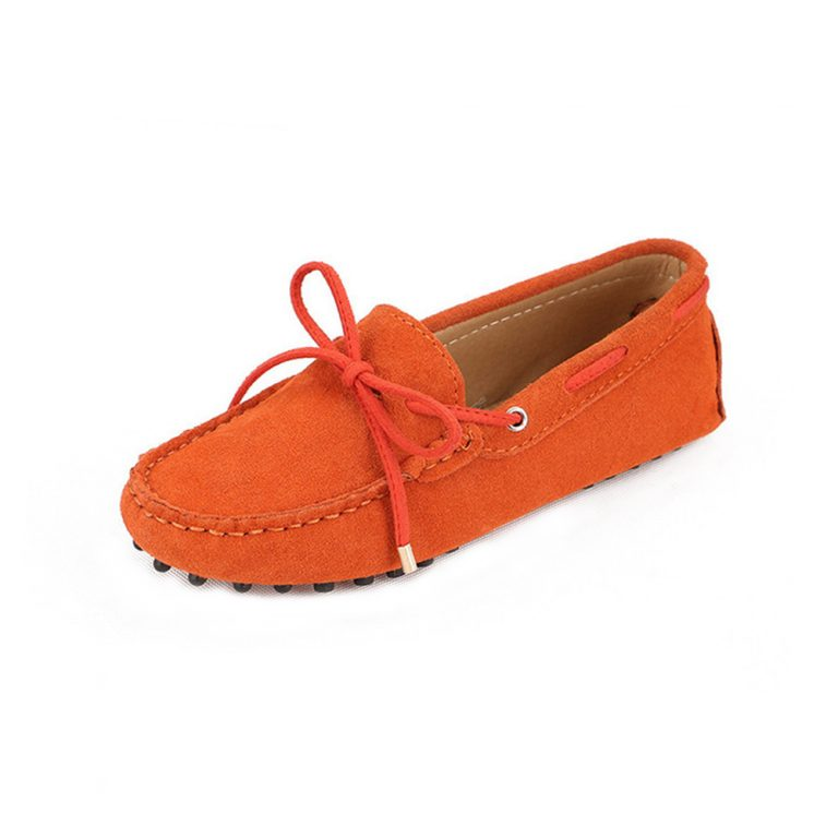 womens orange suede lace up driving shoes – kensington shoe by london loafers