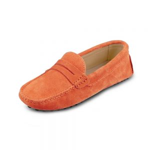 womens orange suede penny loafer - soho shoe by london loafers
