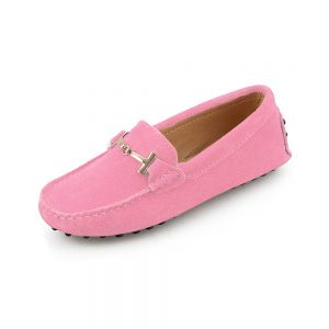 womens pink suede horsbit driving shoes – windsor shoe by london loafers