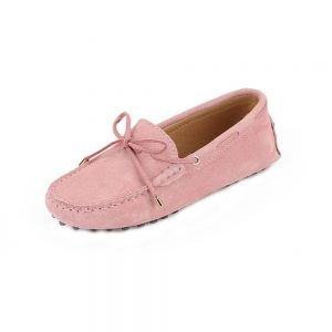 womens pink suede lace up driving shoes - kensington shoe by london loafers