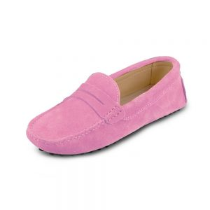 womens pink suede penny loafer - soho shoe by london loafers