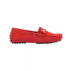womens red suede horsbit driving shoes – windsor shoe by london loafers 2