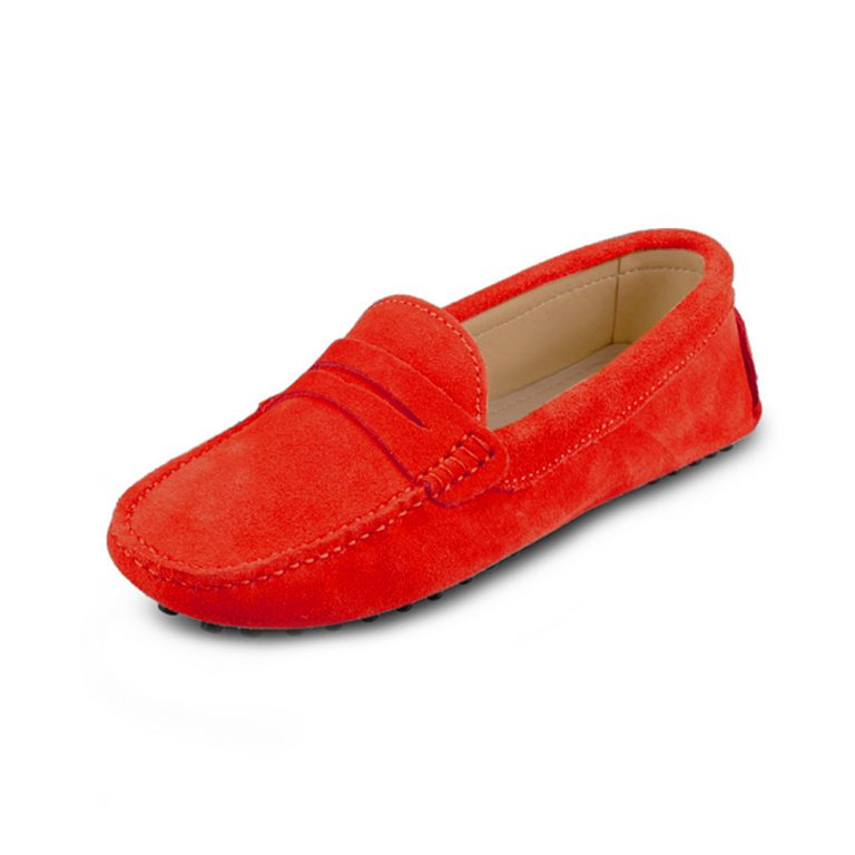 womens red suede penny loafer – soho shoe by london loafers 5