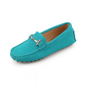 womens turquoise suede horsbit driving shoes - windsor shoe by london loafers