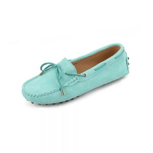 womens turquoise suede lace up driving shoes - kensington shoe by london loafers