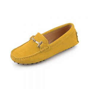 womens yellow suede horsbit driving shoes - windsor shoe by london loafers