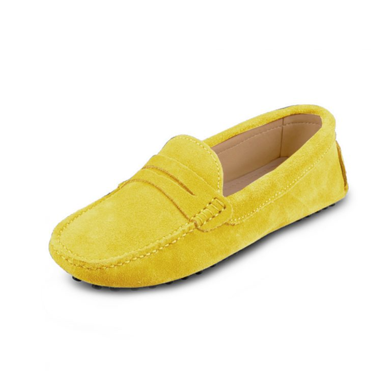 womens yellow suede penny loafer – soho shoe by london loafers 5