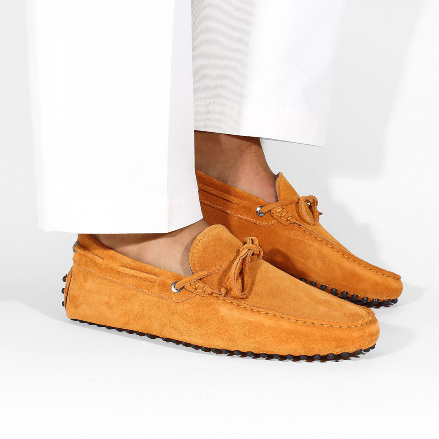 mens orange suede driving shoe loafers chelsea slip ons london loafers 3